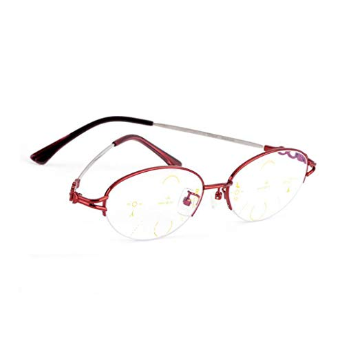 Magnifier High Reading Definition - FGSJEJ Blu-ray Reading Glasses for Men and Women, Dual-use high-Definition Intelligent Zoom Progressive Multi-Focus Double-Color Discoloration Old Glasses (Color : Red, Size : +2.00)
