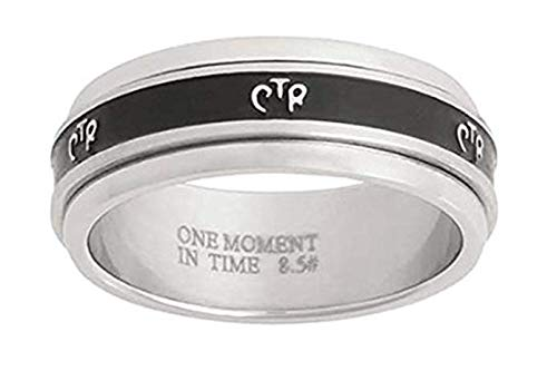 (One Moment In Time Antiqued Narrow - Stainless Steel - Spinner CTR Ring - J37 (4.5))