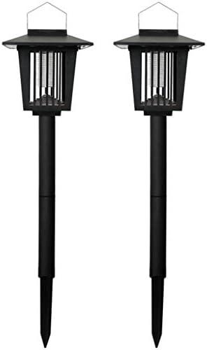 Andouy Tragbare Solarenergie Moskito Lampe LED-Licht Mückenfalle für Innen und Auße(60x15cm.Schwarz-Zwei Packungen)