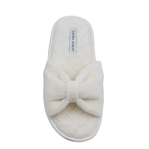 Foam Toe Spa Ladies Ashley Cream Memory Bow Slippers Open Insole Laura qnFTAx