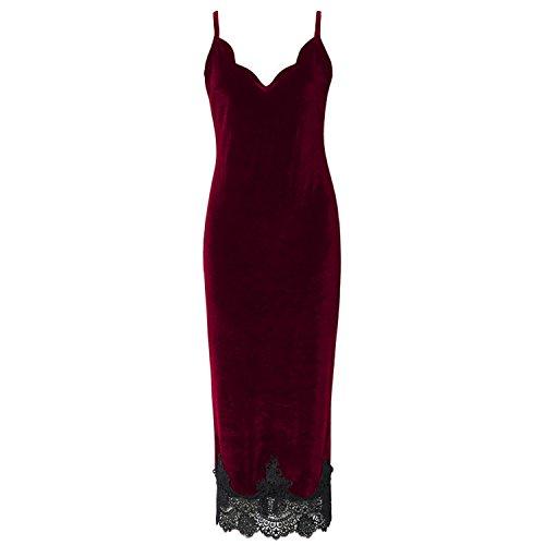 David Nadeau Women New Velvet Lace Slim Dress Spring Fashion Sexy Lady Red L (Yakima Wa Stores)
