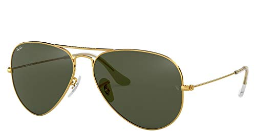 Ray-Ban RB3025 Aviator Sunglasses (58 mm, Gold Metal Frame/Non-Polarized Green G-15 ()