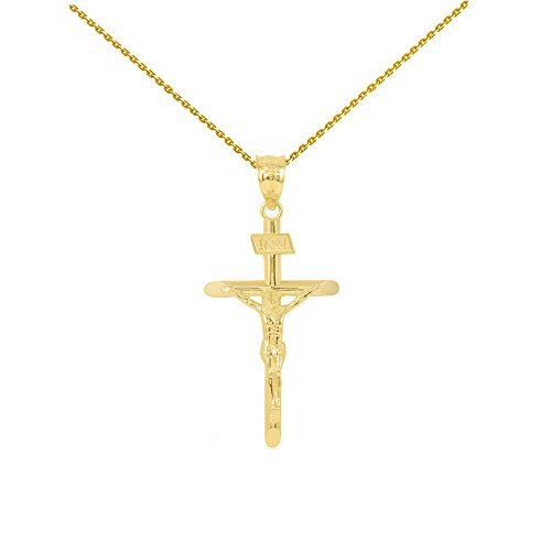 (Solid 10k Yellow Gold Cross INRI Crucifix Pendant Necklace (1.39