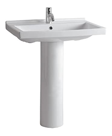 China Series Tubular Pedestal Sink With Rectangular Bowl And Single