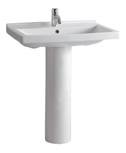 China Series Tubular Pedestal Sink with Rectangular Bowl and Single Faucet Hole