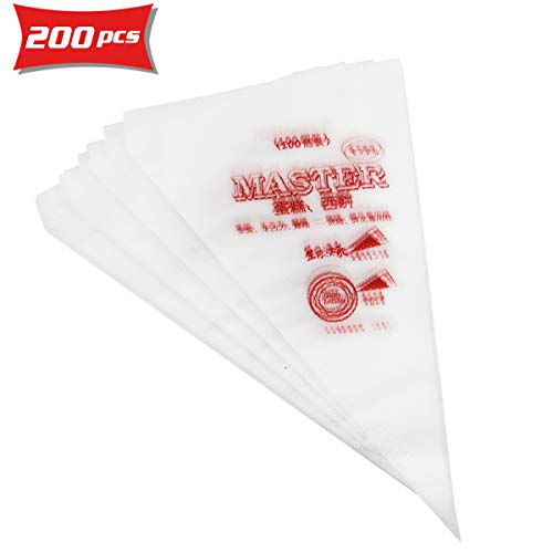 DLOnline 200 Pcs Pastry Piping Bags Disposable Cream Pastry Bag Cake Icing Piping Decorating Tool for all Size Tips Couplers and Baking Cookies Candy Supplies Kits