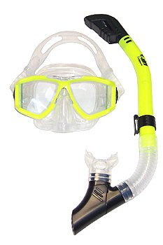 Snorkel Mask Combo, Panoramic 4 Lens Purge Mask and Cobra Dry Snorkel Set Snorkeling Scuba Dive Diver Diving XL X-Large Package Large