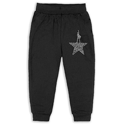 Musicals Hamilton Boys Girls Elastic Cotton Sport Pants (2-6 Years) Black