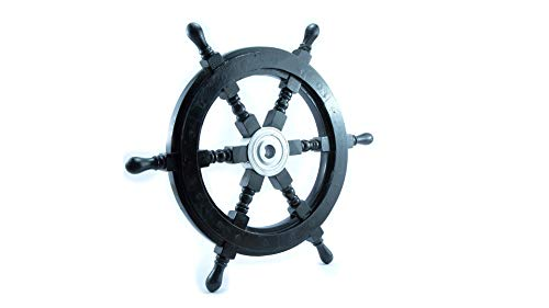 Mythrojan Wooden Black Pirate Ship Wheel with Solid Chrome Center Nautical Pirate Home Office Wall Decor 18