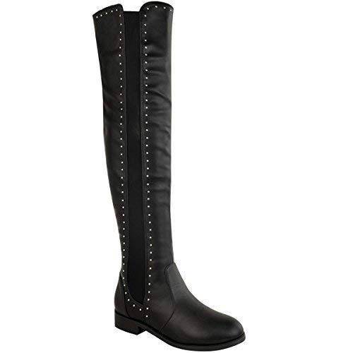 Womens Ladies Thigh High Over The Knee Studded Flat Pull On Stretchy Boots Size Black Faux Leather