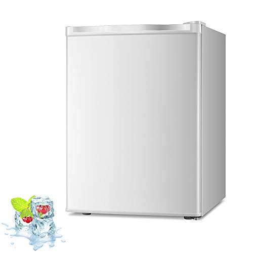 Kismile 2.1 Cu.ft Upright Freezer with Compact Reversible Single Door,Removable ShelvesFree Standing Mini Freezer with Adjustable Thermostat for Home/Kitchen/Office (White, 2.1 cu.ft)