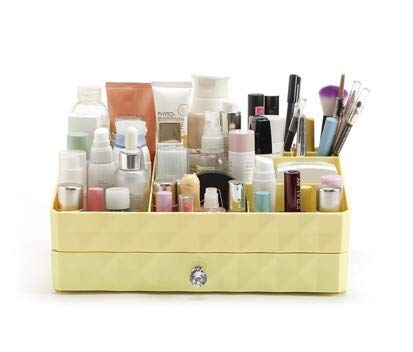 と遊ぶ北極圏マラソン引き出し型化粧品収納ボックス家庭用ドレッサープラスチック大型ジュエリー収納ボックス (Color : Yellow)