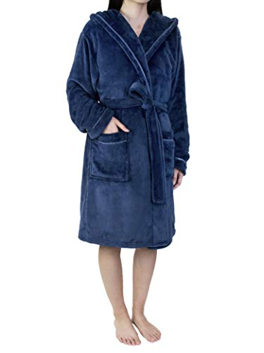 oded Robe with Satin Trim | Short Knee Length Plush Warm Bath Spa Robe with Hood ()