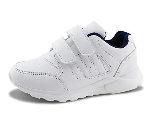 (Jabasic Kids Running Sneakers White Black Hook and Loop School Uniform Shoes)