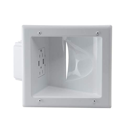 DataComm Electronics 45-0231-WH USB Recessed Media Box with Duplex Receptacle and 4.0 Amp Dual USB Ports - White