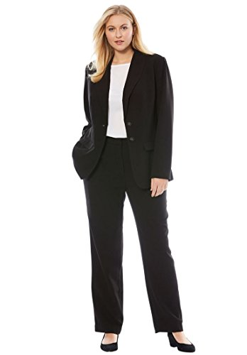 Jessica London Women's Plus Size Petite Single Breasted Pant Suit Black,12 - Petite Lined Jeans