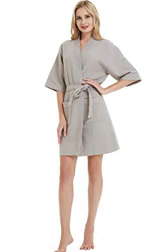 (Women Cotton Bathrobe, Soft Honeycomb Jacquard Weave Cloth Bath Shower Spa Robe, M Gray)
