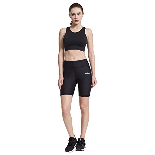 COOLOMG Women's Yoga Shorts Compression Running Short Pants Black S