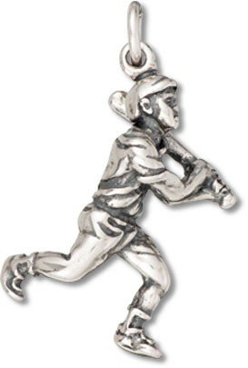 (Sterling Silver Baseball Player Charm with Split Ring - Item #9405)
