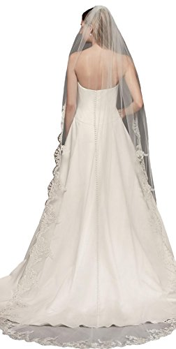 Passat Diamond White Single-Tier 3M Cathedral Floral Embroidered Wedding Veil with Rhinestones DB13 by Passat