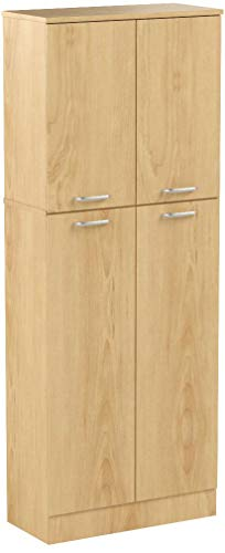 South Shore Smart Basics 4-Door Storage Pantry, Natural Maple