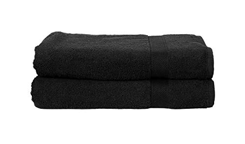 - Bath Sheet Towels Set Of 2 In 100% Ring Spun Combed Cotton With Luxurious & Ultra Soft,Highly Absorbent,Bathroom Towels,Bath Towel Set,Bath sheet Clearence,Bath Towel Cotton,Bath towel-35x70-Black