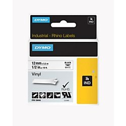 DYMO 18444 Rhino Permanent Vinyl Industrial Label Tape, 1/2