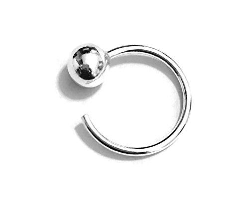 16gauge (1.2mm) Fixed Ball Hoop BCR Ball Closure Ring Open Hoop 6mm Ball 15mm Outer Diameter