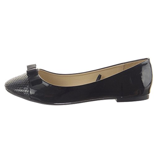 Sopily - Zapatillas de Moda Bailarinas Tobillo mujer brillantes Piel de serpiente Talón Tacón ancho 1 CM - Negro