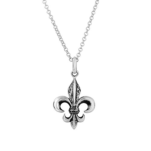 Oxidized Sterling Silver Fleur De Lis Necklace, 18