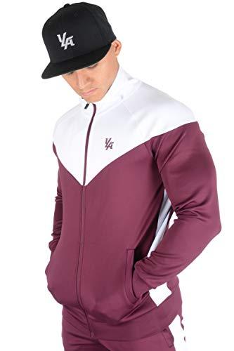 YoungLA Track Jackets for Men Athletic Running Jogging Gym 515 Burgundy Small (Burgundy Workout Jacket)