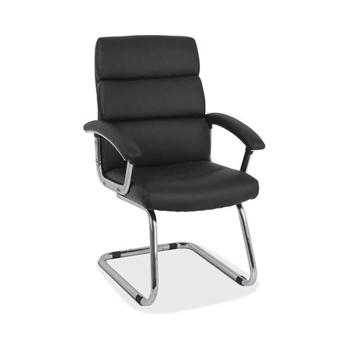 HON Traction High-Back Modern Guest Chair - Leather Reception Chair, Black (HVL102) by HON