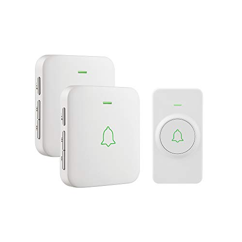 (Wireless Door Bell, AVANTEK Mini Waterpoof Doorbell Chime Operating at 1000 Feet with 52 Melodies, 5 Volume Levels & LED Flash)