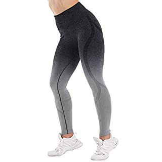 High Waisted Seamless Leggings for Women Tummy Control Workout Gym Butt Lifting Tights Mesh Yoga Pants (Gradient Black, Small)