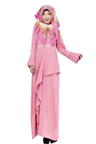 A Musulmano Maniche Islamico Abbigliamento Abaya Lunghe Bozevon Rosa Robes Vestito Donna Abito Charming qTxnZIURw