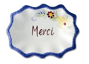 "Quimper Dish with French Saying ""Merci"""