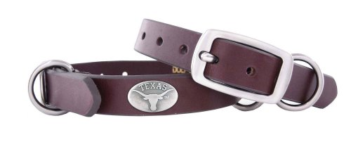 Zep-Pro Texas Longhorns Brown Leather Concho Dog Collar, X-Small, My Pet Supplies