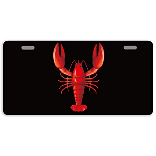(Eprocase License Plates Lobster License Plate Cover Novelty Metal Aluminum Decorative Auto Car Tag Front 2 Holes 11.8