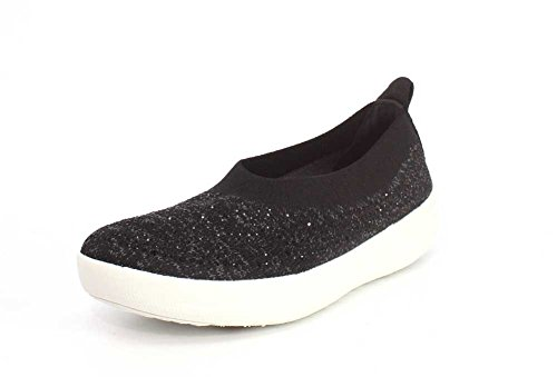 FitFlop Womens Uberknit Ballerina Walking Slip-on Black/Soft Grey