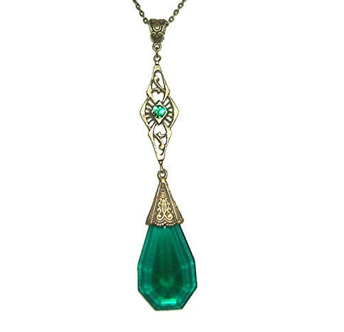 - GREEN CZECH GLASS Necklace Pendant ANTIQUE STYLE One Of A Kind