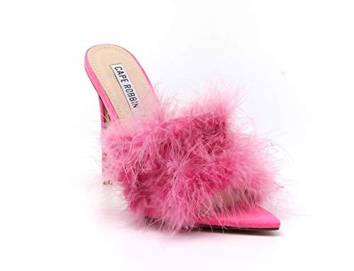 CAPE ROBBIN Women Faux Fur Open Pointy Toe Stiletto Mule Heel Sandal (9, Pink)
