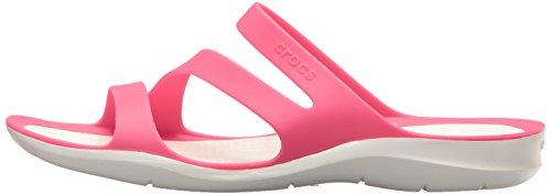 Womens Ladies White Crocs Versatile Soft Sandals Pink Lightweight Swiftwater 7qgww6PKda