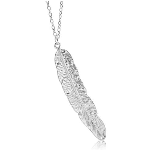 (Geerier Simple Silver Metal Chain Pendant Feather Necklace)