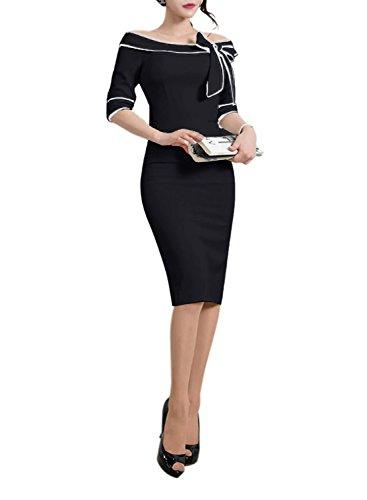 HELYO Women's 1960s Slim Half Sleeve Bowknot Wear To Work Office Classy Pencil Dress 172 (S, Black) Classy Office