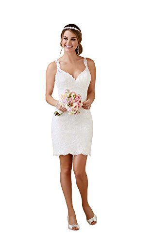 Double V Neck Lace Sheer Button Short Wedding Dress