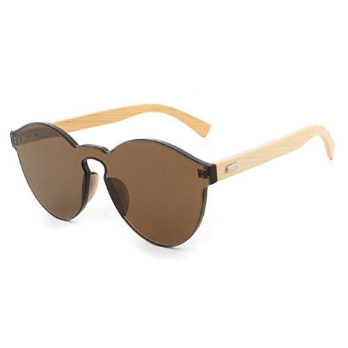 Z&HA Wayfarer Bamboo Feet Sunglasses Big Frame Wild Frameless Personality Resin Lenses Eyewear Candy Color Goggles For Men's Women's,Brown