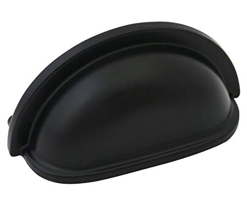 Kitchen Hardware Cabinet Black (Cosmas 4310FB Flat Black Cabinet Hardware Bin Cup Drawer Handle, 10-Pack )