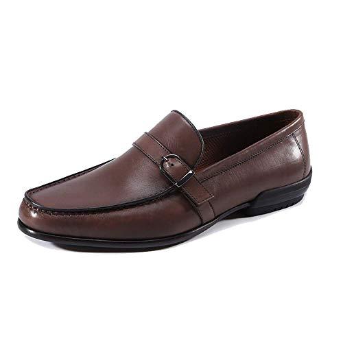 Transpirable De Xycszq Cómodo Goma Brown Hombres Cuero Broch Perezosos Zapatos Casual q4xZw74g