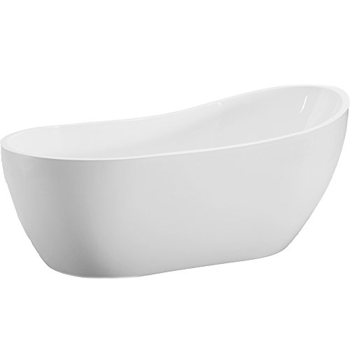 Lowest Prices! Woodbridge 54 Modern Acrylic Freestanding Bathtub, with Brushed Nickel Drain & Overf...