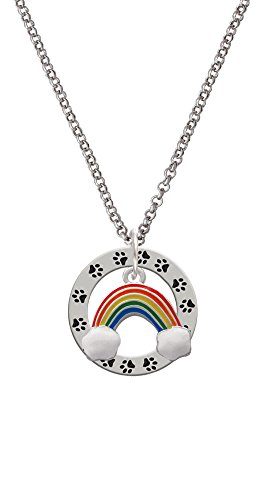 - Rainbow - Paw Prints Affirmation Ring Necklace